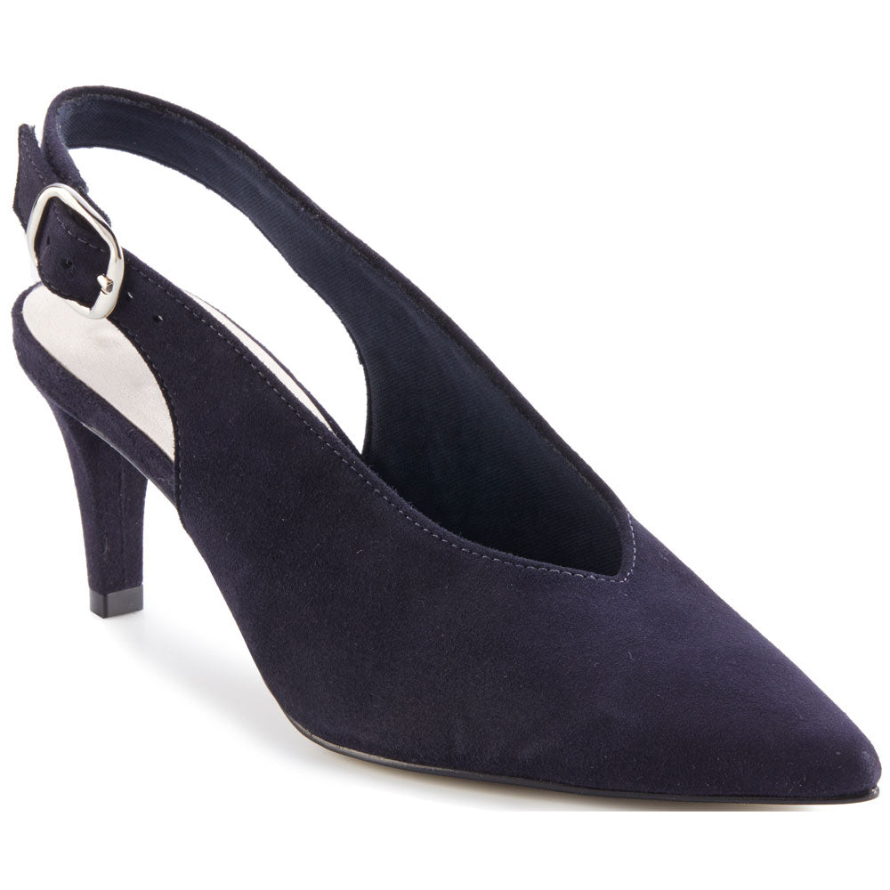 Shelby Slingback Heel in Navy Suede