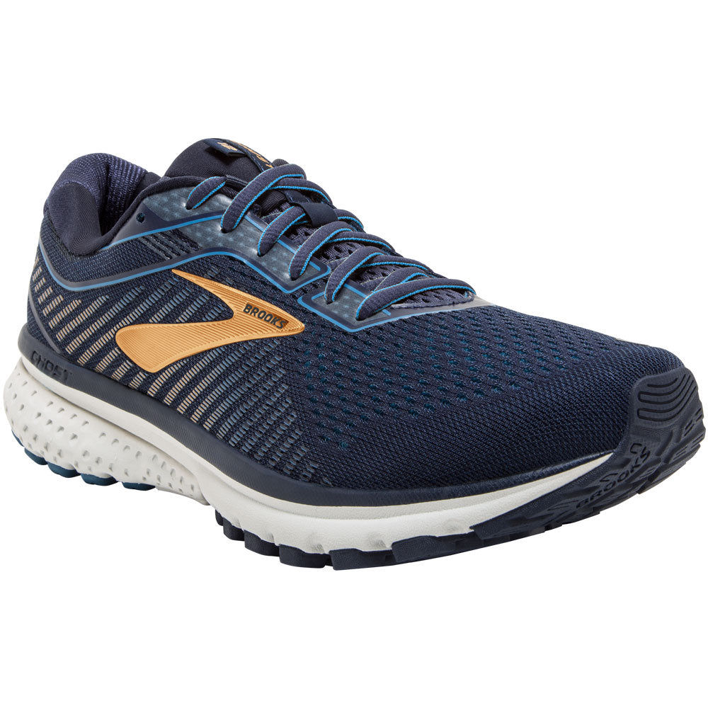 Brooks Men's Ghost 12 in Navy/Deep Water/Gold at Mar-Lou Shoes