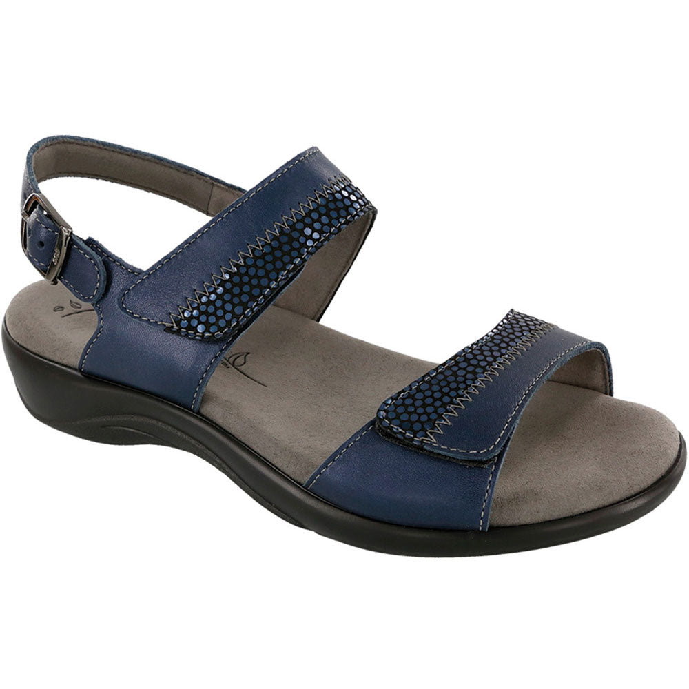 SAS Nudu Sandal in Navy Leather at Mar-Lou Shoes