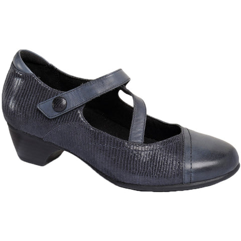 Aravon Portia Mary Jane Heel in Navy Leather at Mar-Lou Shoes