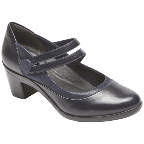 Aravon Lexee Mary Jane Heel in Navy Leather at Mar-Lou Shoes