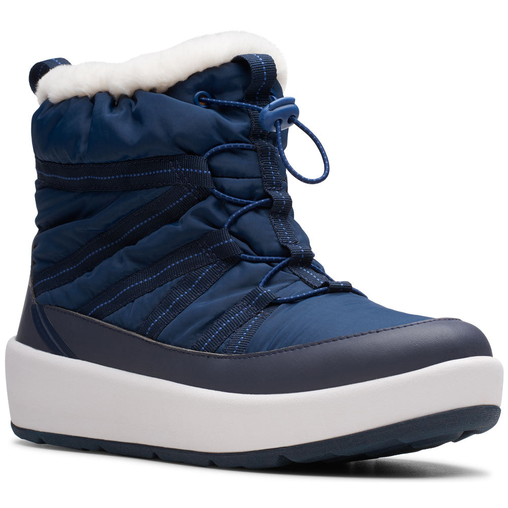 Clarks Step North Frost Waterproof Bootie in Navy at Mar-Lou Shoes