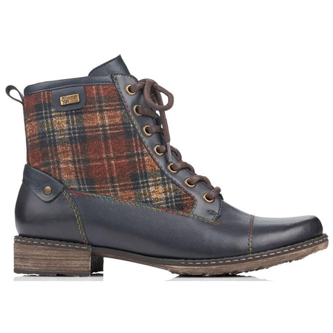 Remonte D4354 Water-Resistant Boot in Navy Leather and Lake/Whiskey Plaid Mar-Lou Shoes