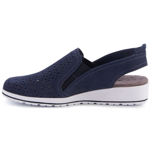 Walking Cradles Faulkner Slingback in Navy Nubuck at Mar-Lou Shoes