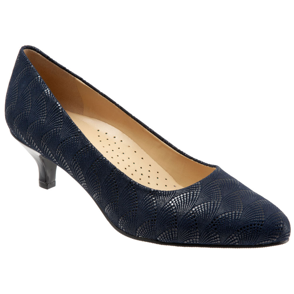 Kiera Heel in Navy Waves Leather