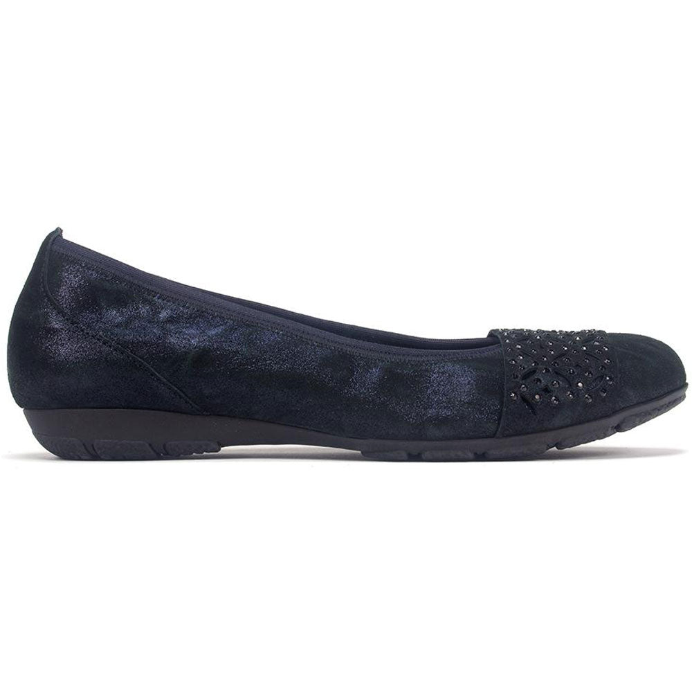 Gabor 74160 Embelleshed Ballet Flat in Black Metallic Caruso at Mar-Lou Shoes