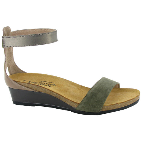 Pixie Sandal in Olive Suede/Arizona Tan/Pewter Leather