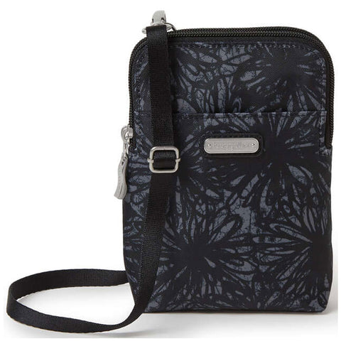 Baggallini Take Two RFID Bryant Crossbody in Onyx Floral at Mar-Lou Shoes