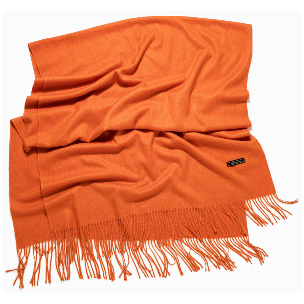 Look by M Soft Basic Cashmere Scarf in Orange at Mar-Lou Shoes