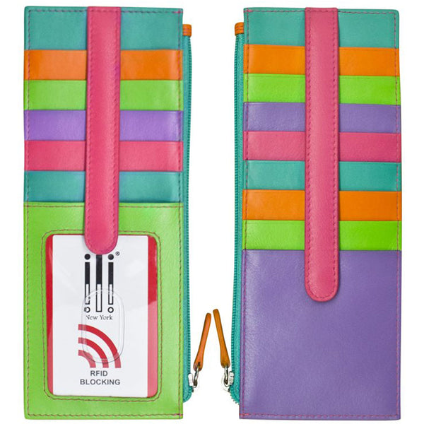 ILI 7800 RFID Credit Card Holder with Zip Pocket in Palm Beach Leather at Mar-Lou Shoes