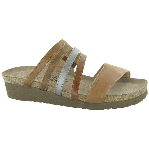 Peyton Slide Sandal in Brown/Silver/Camel