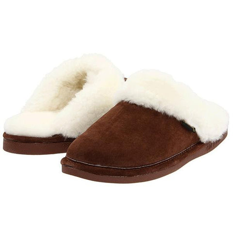 Scuff Slipper in Dark Brown Sheepskin