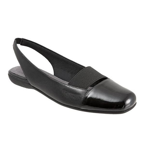 Sarina Slingback Flat in Black Leather/Patent