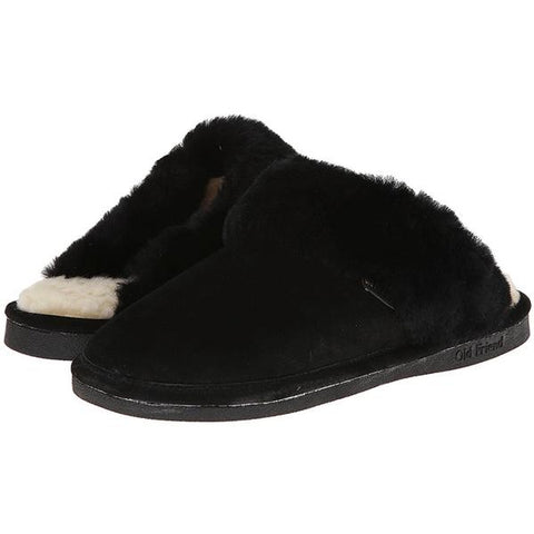 Scuff Slipper in Black Sheepskin