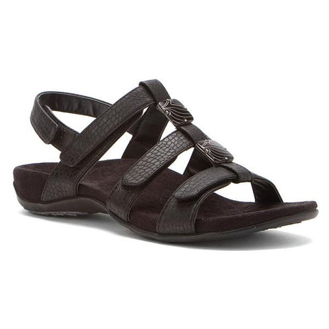 Amber Sandal in Black Croc