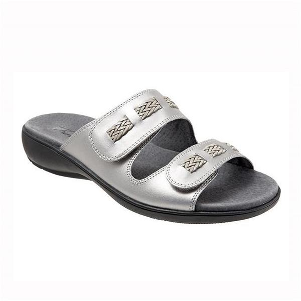 Kap Slide Sandal in Pewter Leather 1614033 - PEWTER