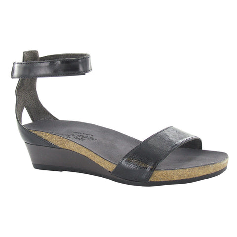 Pixie Leather Wedge Sandals in Black Leather