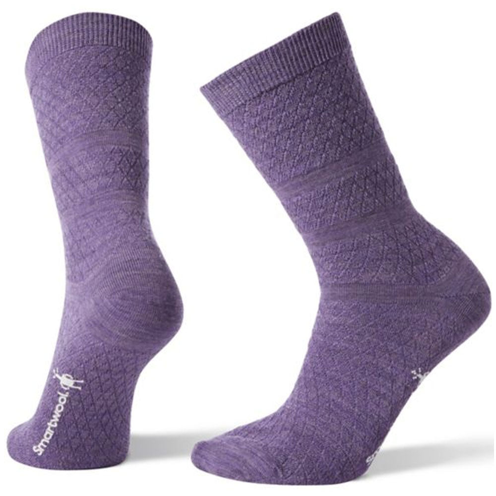 Women's Texture Crew Socks in Lavender