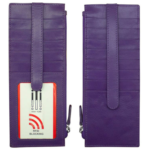 ILI 7800 RFID Credit Card Holder with Zip Pocket in Purple Leather at Mar-Lou Shoes