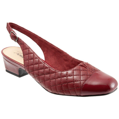 Dea in Dark Red Quilted Embossed Leather