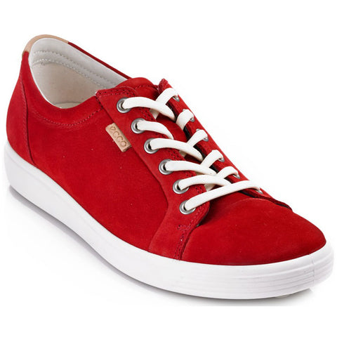 ECCO Women's Soft 7 Sneaker in Chili Red Suede from Mar-Lou Shoes