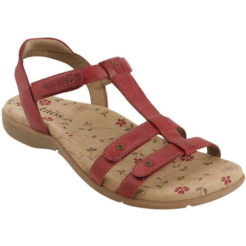 Taos Trophy 2 Sandal in Red Leather at Mar-Lou Shoes
