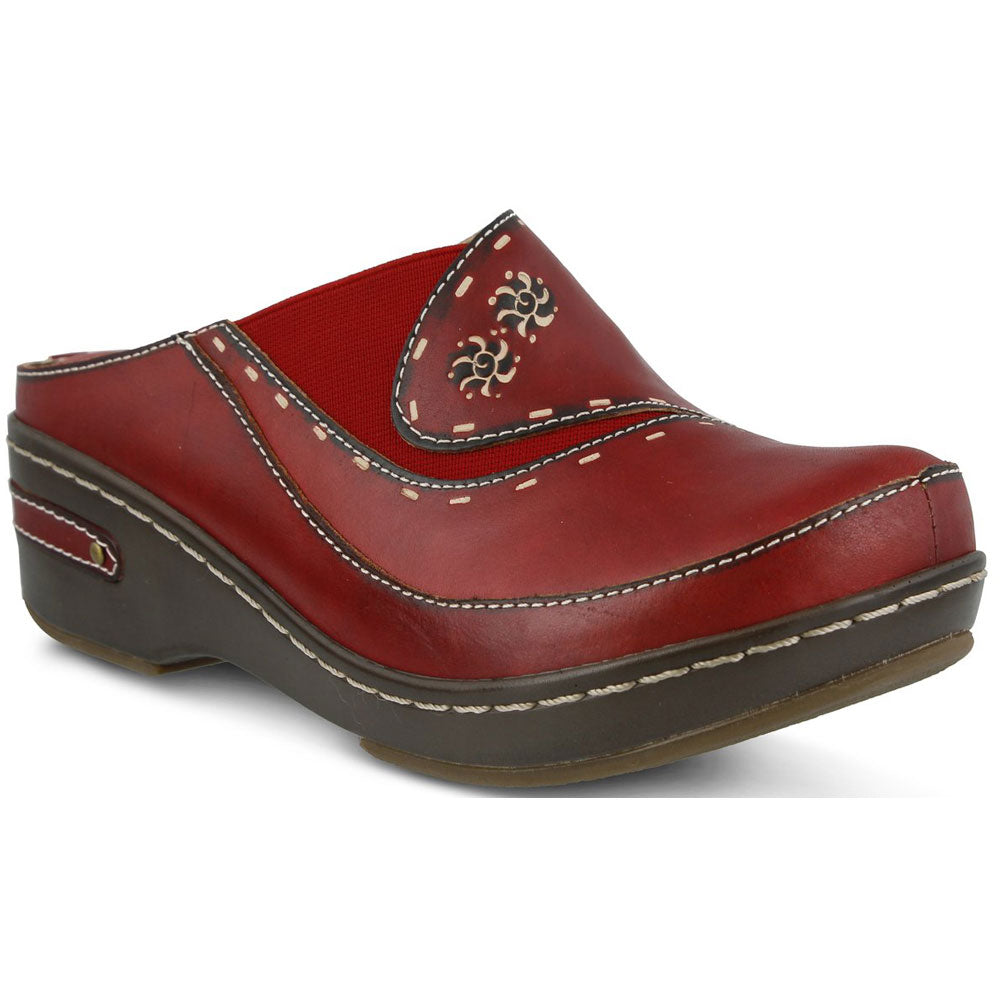 Chino Clog in Red Leather