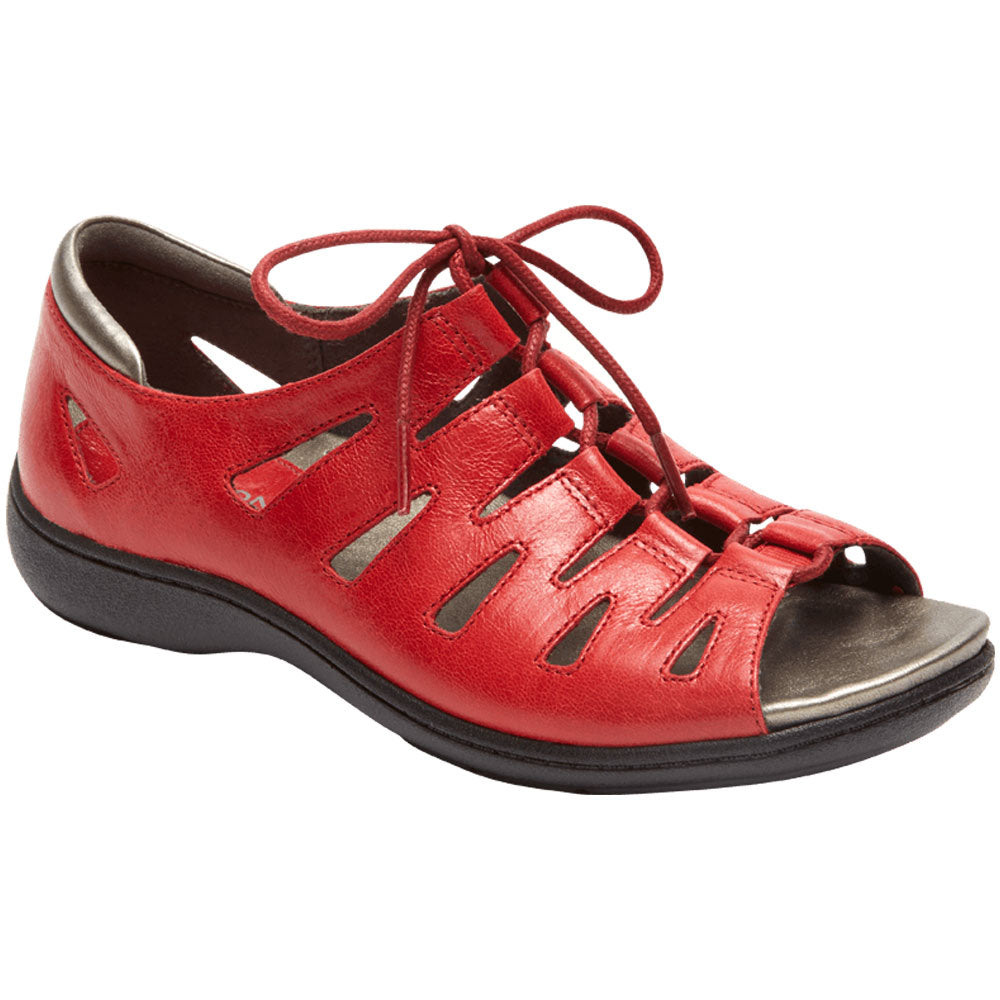 Aravon Bromly Ghillie Sandal in Red Leather at Mar-Lou Shoes