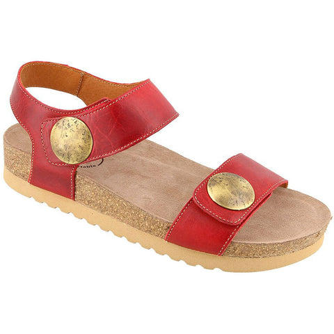 Taos Luckie Sandal in Red Leather at Mar-Lou Shoes