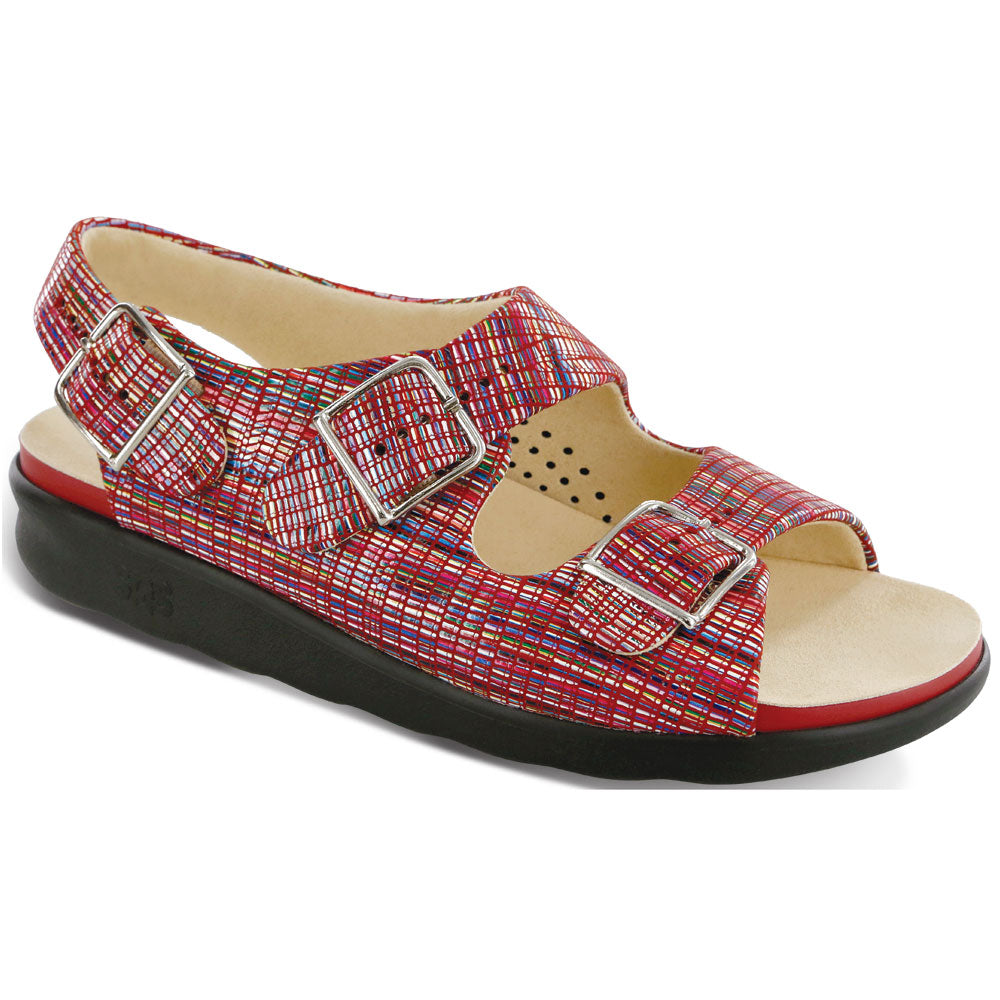 SAS Relaxed Sandal in Rainbow Red Leather at Mar-Lou Shoes