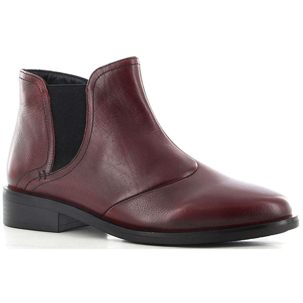 Ziera Scarlet Bootie in Dark Red Leather at Mar-Lou Shoes