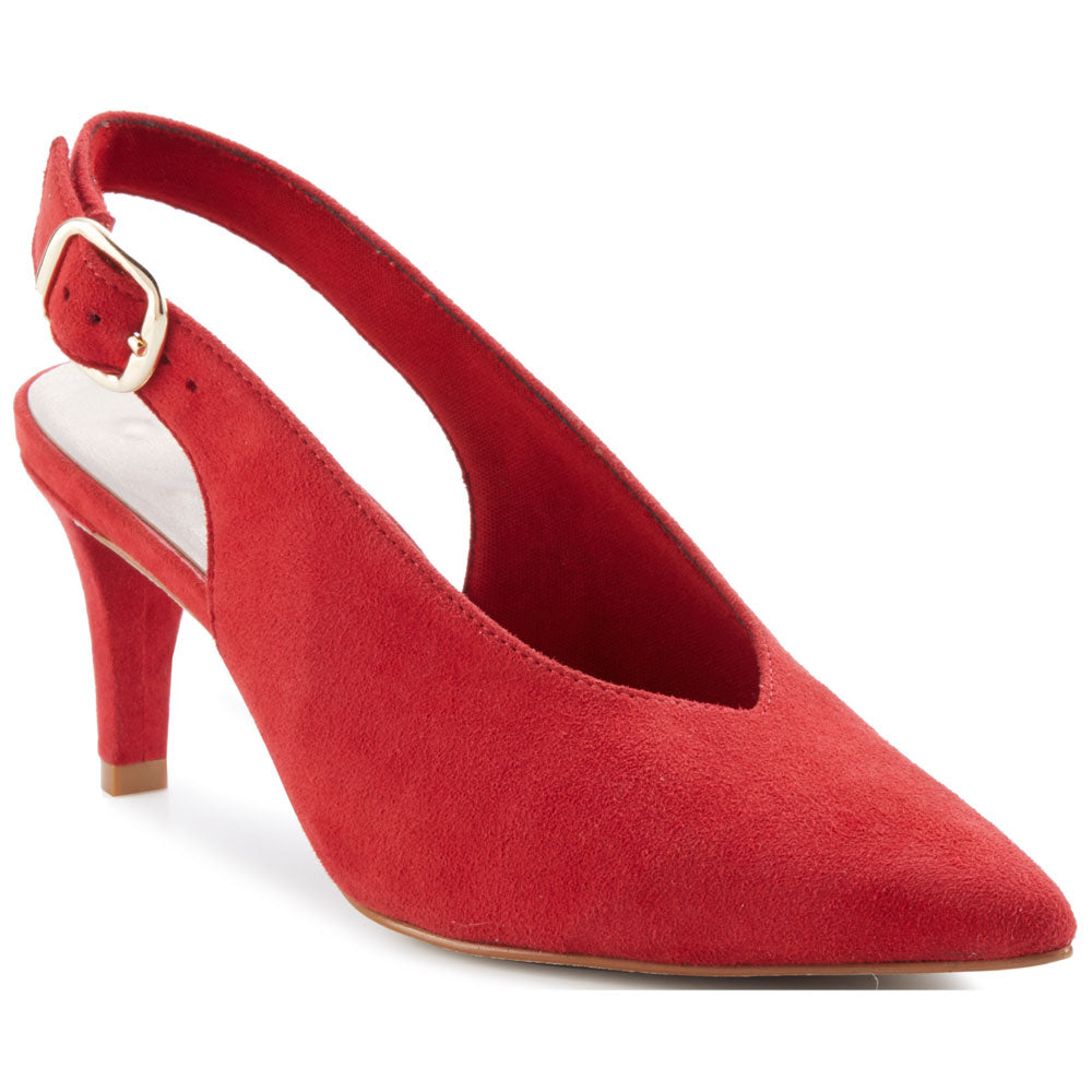 Shelby Slingback Heel in Red Suede