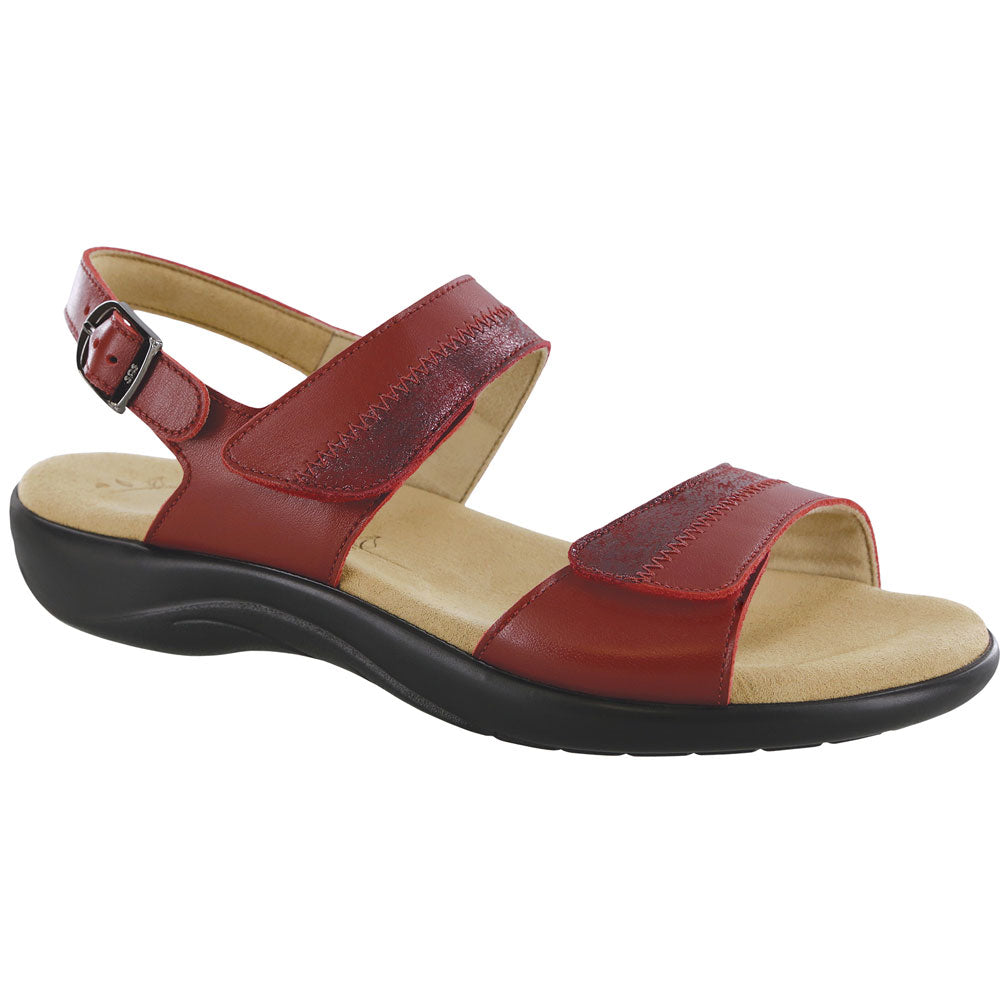 SAS Nudu Sandal in Ruby/Cabernet Leather at Mar-Lou Shoes