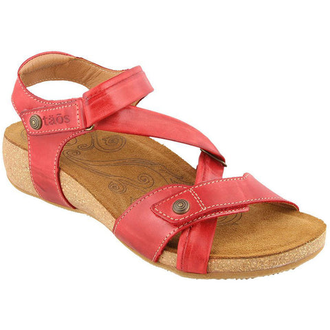 Taos Universe Sandal in Red Leather at Mar-Lou Shoes