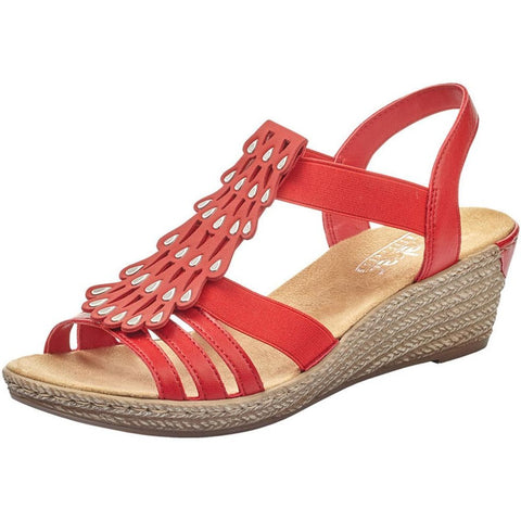 Rieker 62436 Sandal in Red at Mar-Lou Shoes