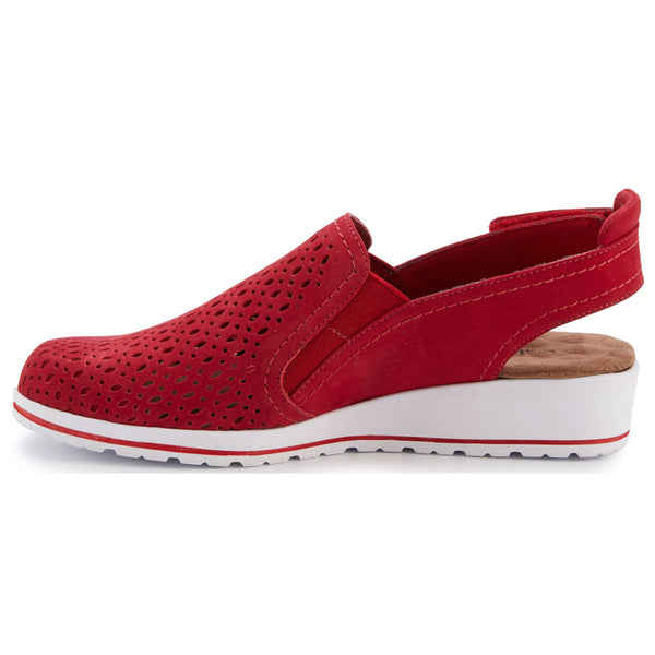 Walking Cradles Faulkner Slingback in Red Nubuck at Mar-Lou Shoes