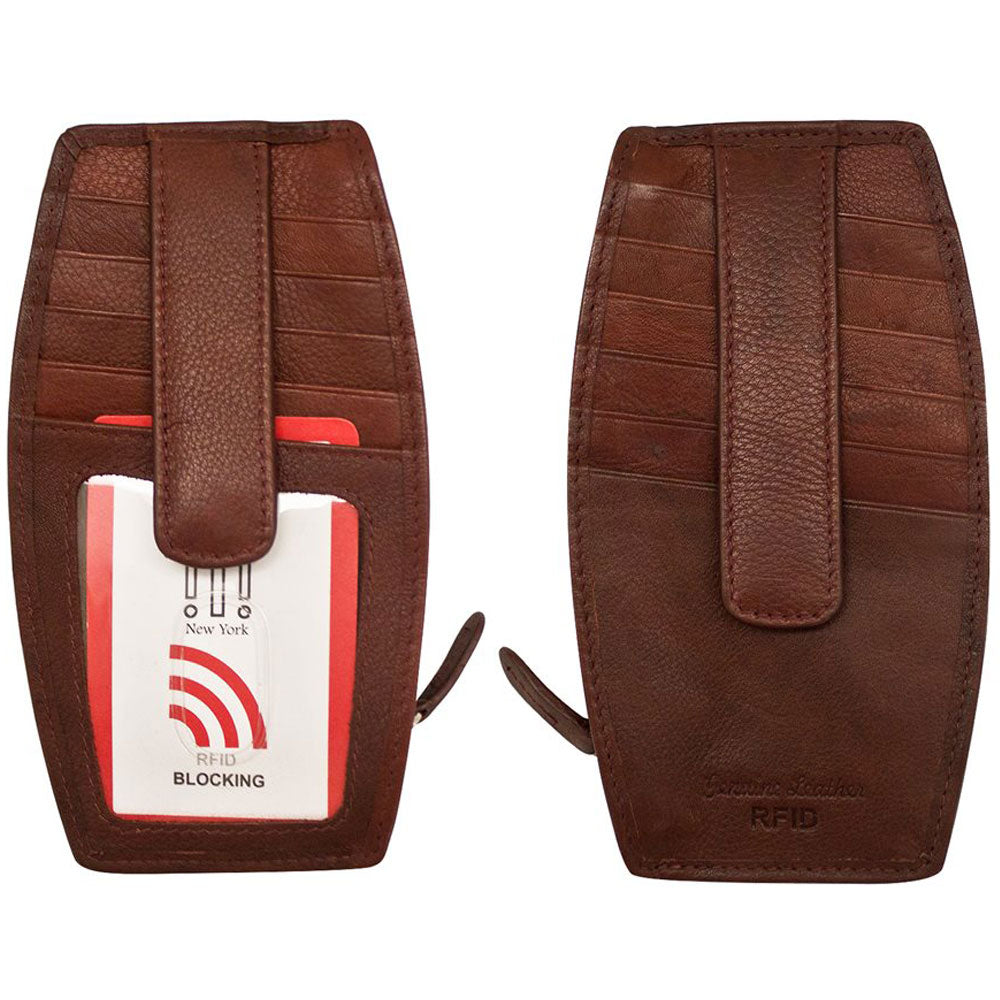 ILI New York 7804 RFID Card Holder and Change Purse in Redwood Leather at Mar-Lou Shoes