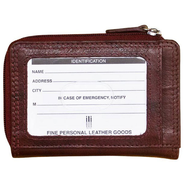 ILI New York 7411 Credit Card Zip in Redwood Leather at Mar-Lou Shoes