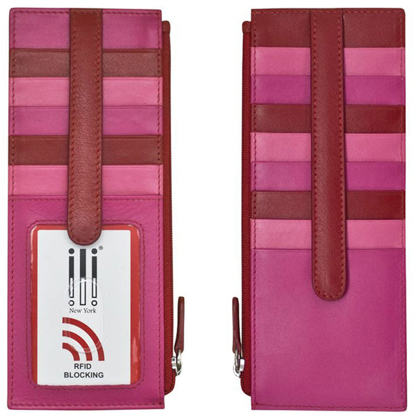 ILI 7800 RFID Credit Card Holder with Zip Pocket in Rouge Leather at Mar-Lou Shoes