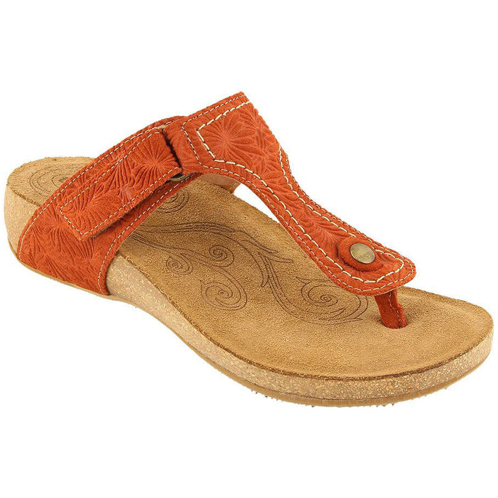Lucy Sandal in Rust Embossed Suede