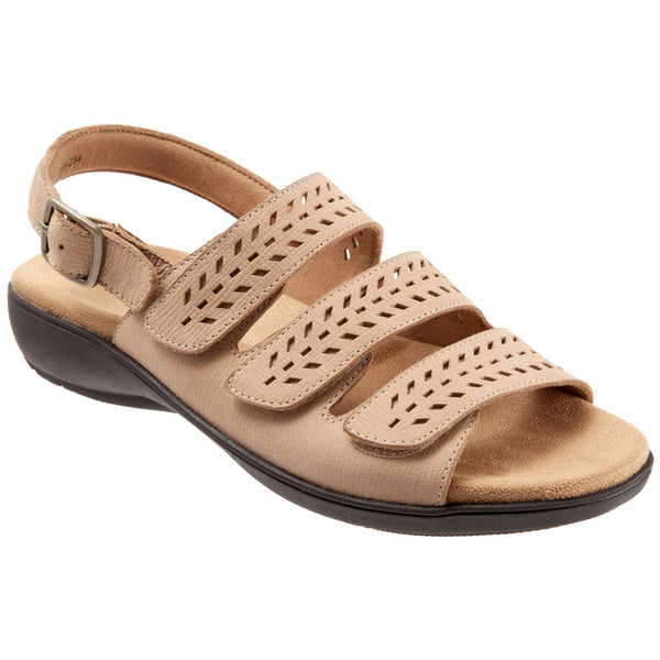Trotters Trinity Sandal in Sand Leather at Mar-Lou Shoes
