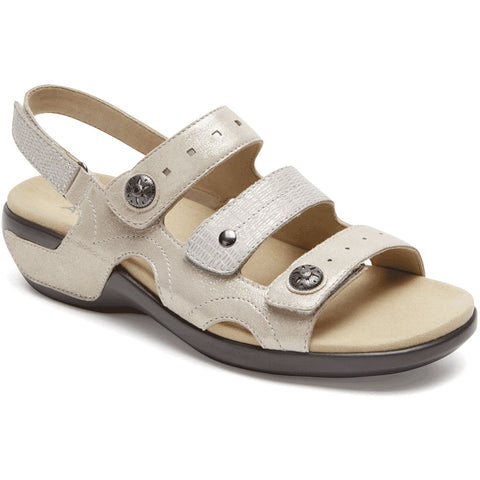 Aravon PC Three Strap Sandal in Metallic Sand at Mar-Lou Shoes