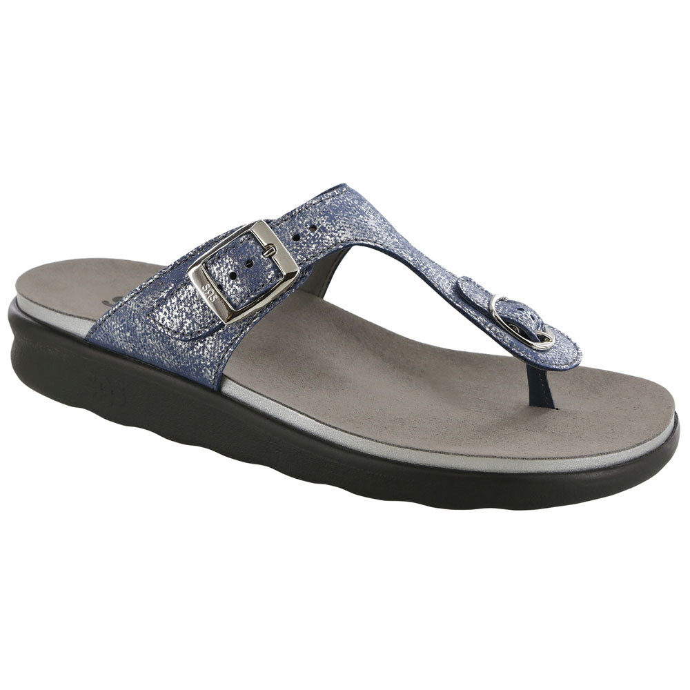 Sanibel Sandal in Silver Blue Leather