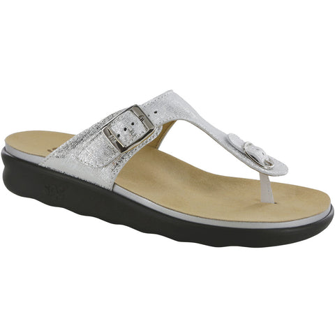 Sanibel Sandal in Shiny Silver Leather