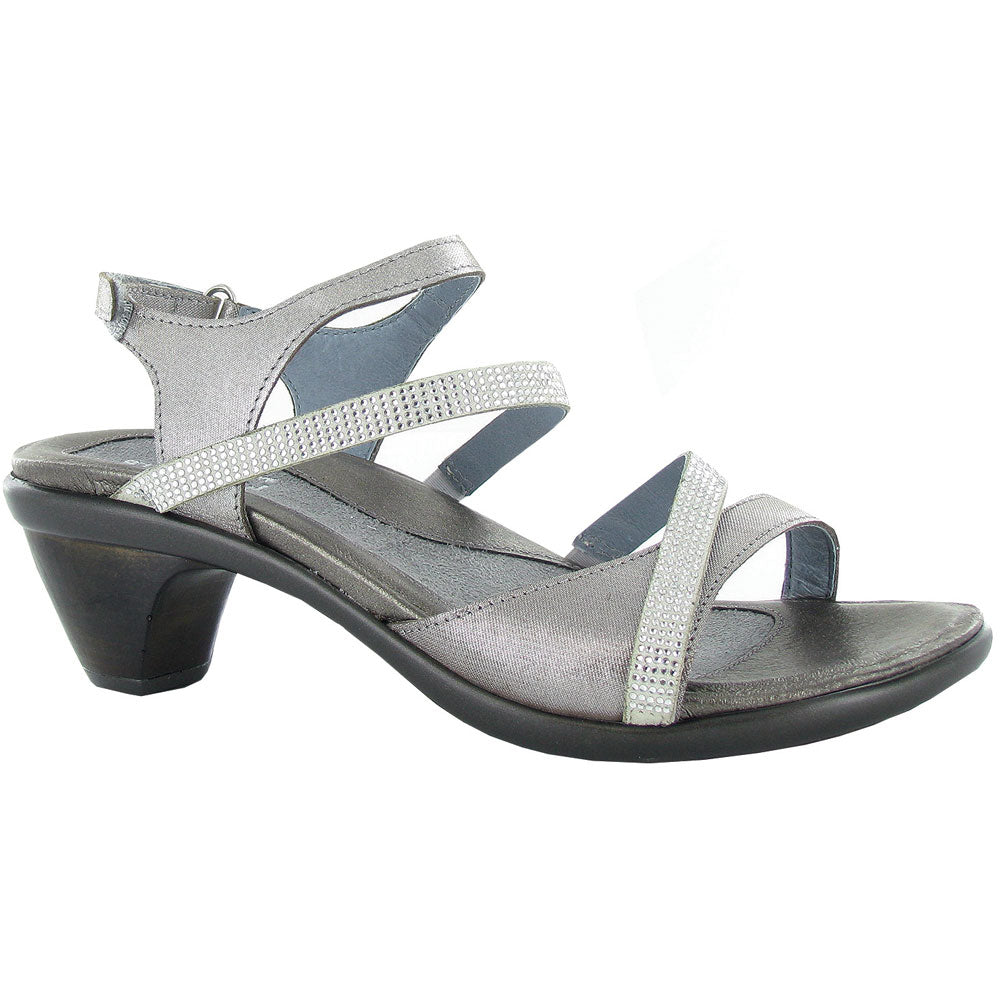 Innovate Sandal in Silver Thread/Beige Micro Combi with Rhinestones