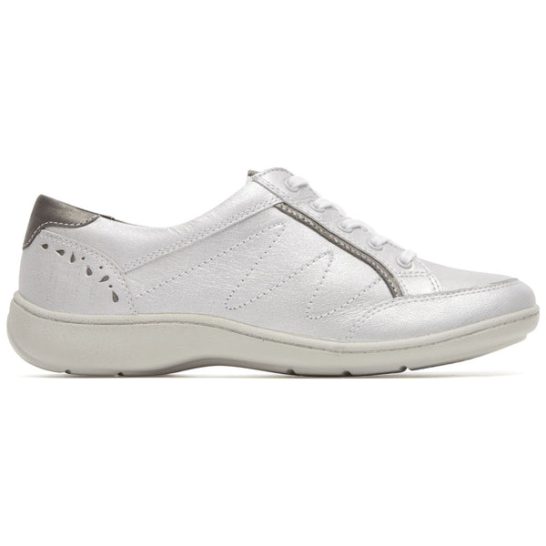 Aravon Bromly Oxford in Silver Leather at Mar-Lou Shoes