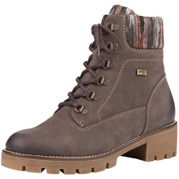 Remonte R5378 Water-Resistant Boot in Smoke/Grey/Brown at Mar-Lou Shoes