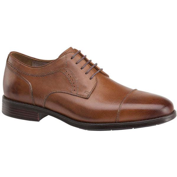 Johnston & Murphy Branning Cap Toe in Waterproof Tan Calfskin at Mar-Lou Shoes