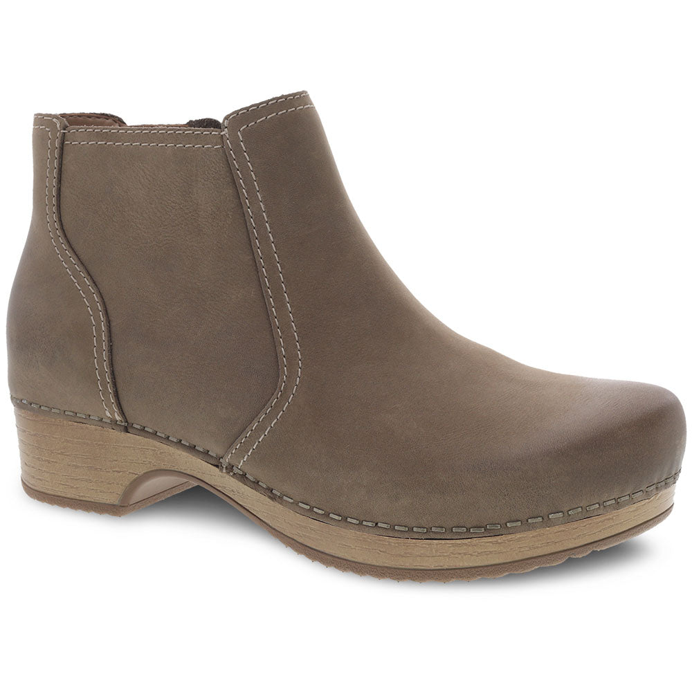Dansko Barbara Bootie in Taupe Burnished Nubuck at Mar-Lou Shoes