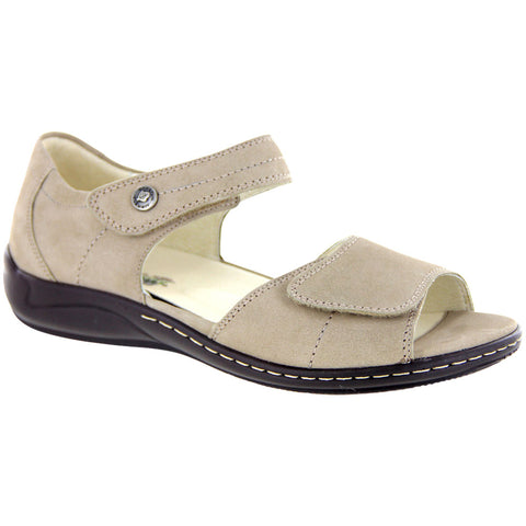 Waldlaufer Hilena Sandal in Light Taupe Nubuck at Mar-Lou Shoes